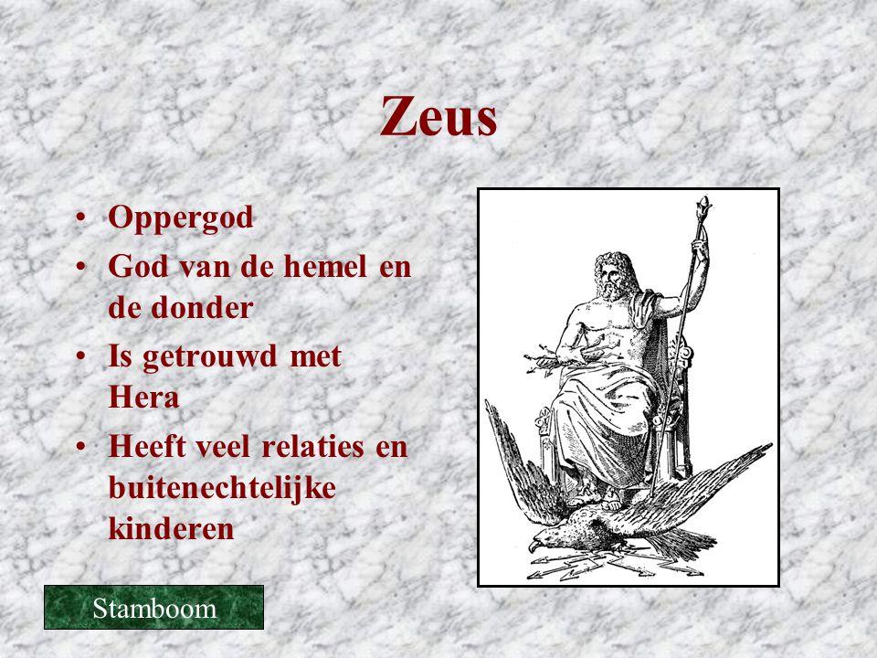 Zeus Oppergod God van de hemel en de donder Is getrouwd met Hera
