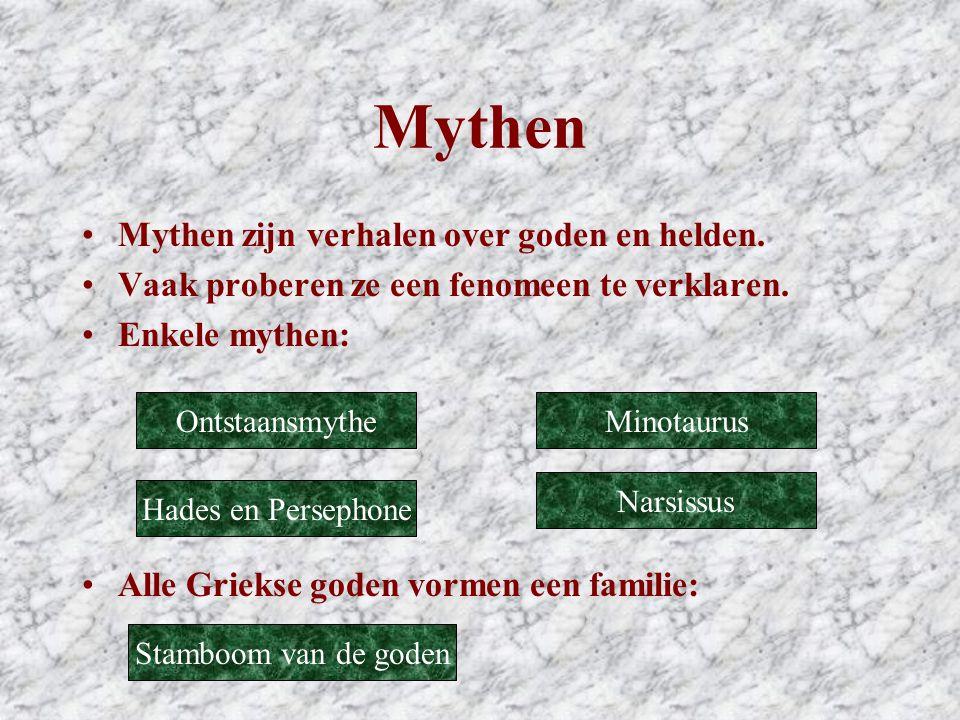 Mythen Mythen zijn verhalen over goden en helden.