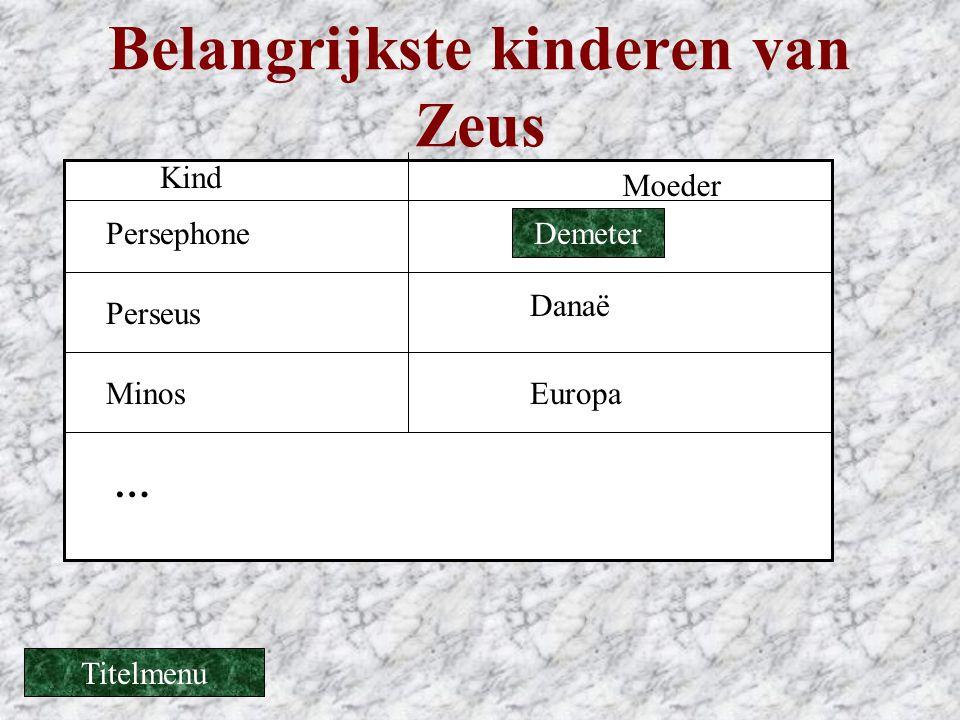 Belangrijkste kinderen van Zeus