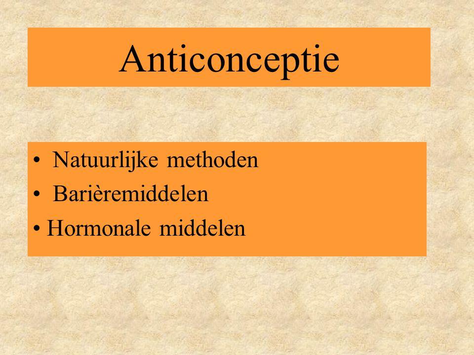 Natuurlijke methoden Barièremiddelen Hormonale middelen