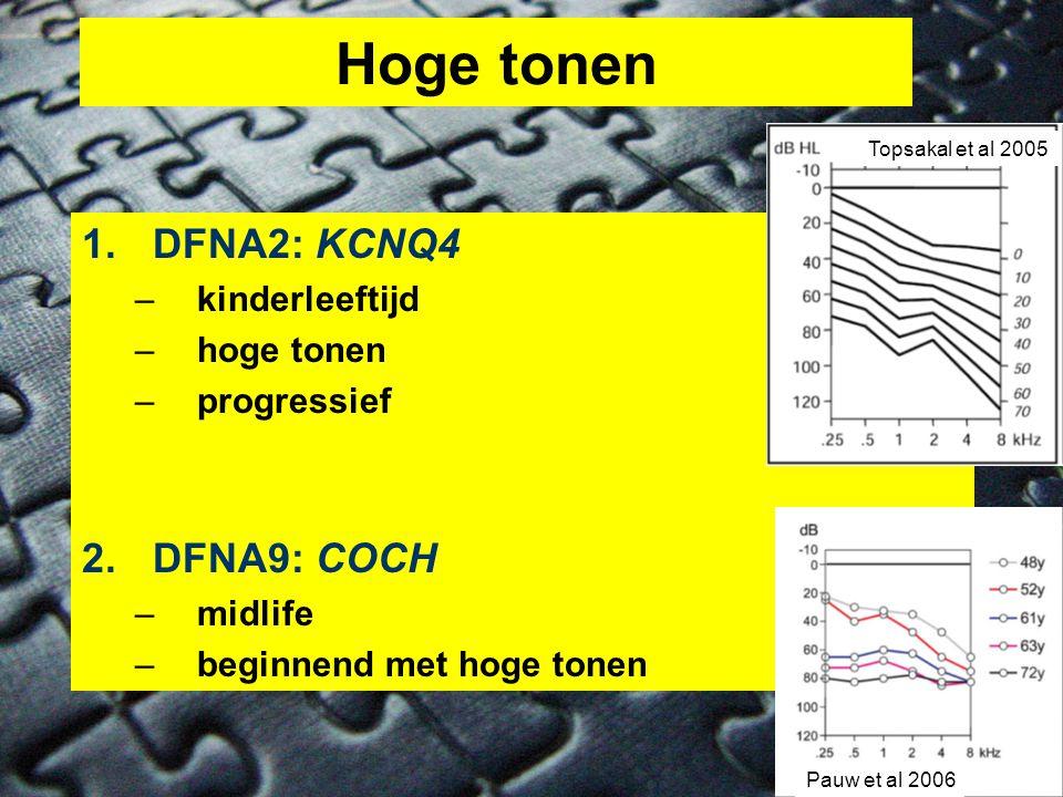 Hoge tonen DFNA2: KCNQ4 DFNA9: COCH kinderleeftijd hoge tonen