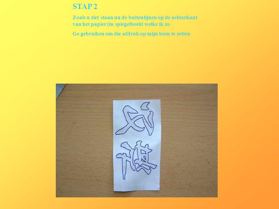 STAP 2 Zoals u ziet staan nu de buitenlijnen op de achterkant van het papier (in spiegelbeeld welke ik zo.