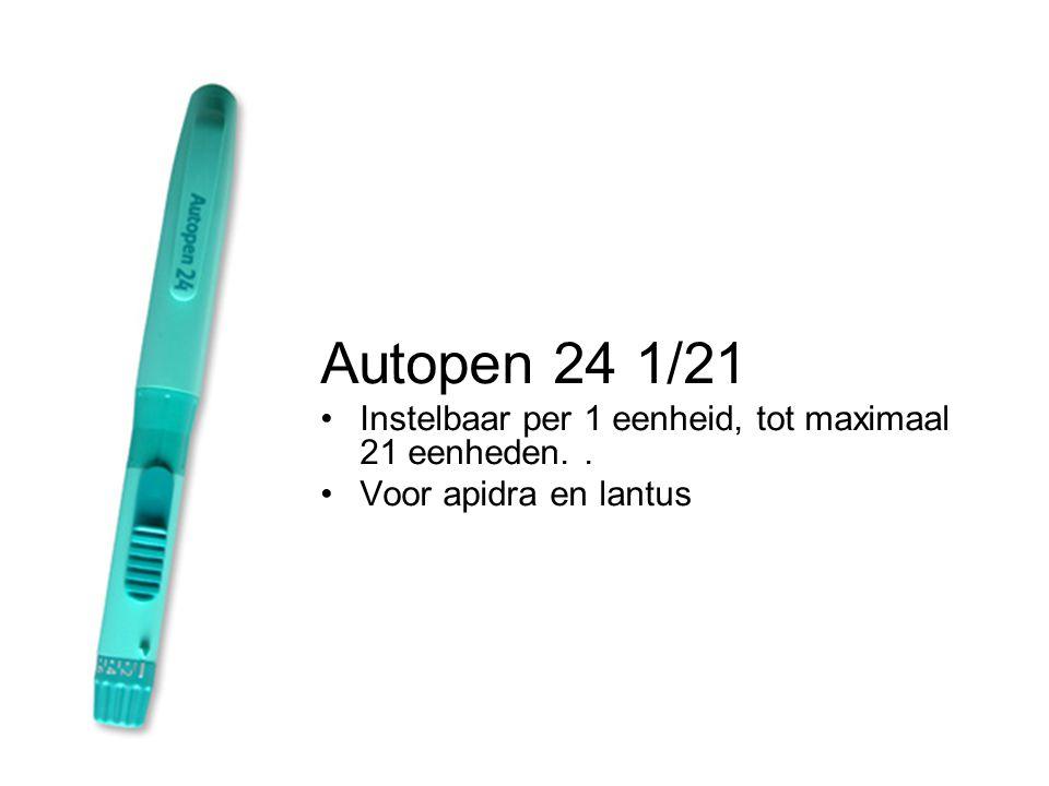 Autopen 24 1/21 Instelbaar per 1 eenheid, tot maximaal 21 eenheden. .