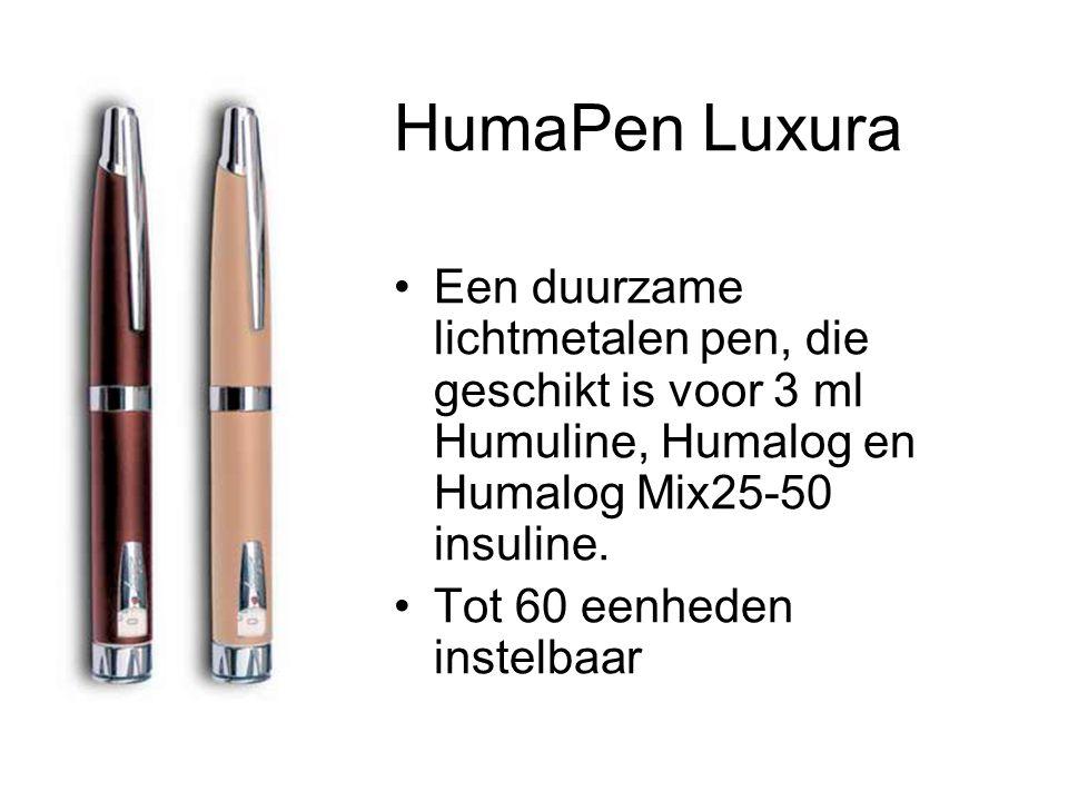 HumaPen Luxura Een duurzame lichtmetalen pen, die geschikt is voor 3 ml Humuline, Humalog en Humalog Mix25-50 insuline.