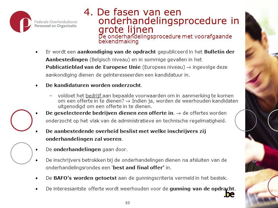 4. De fasen van een onderhandelingsprocedure in grote lijnen De onderhandelingsprocedure met voorafgaande bekendmaking