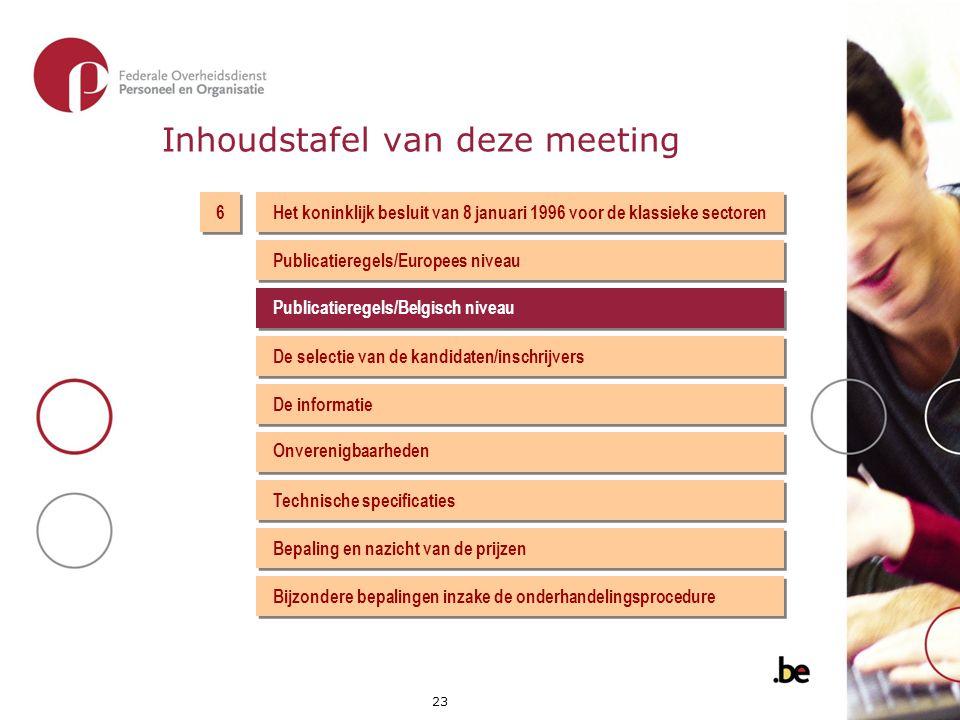 Inhoudstafel van deze meeting