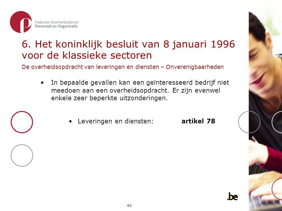 6. Het koninklijk besluit van 8 januari 1996 voor de klassieke sectoren De overheidsopdracht van leveringen en diensten – Onverenigbaarheden