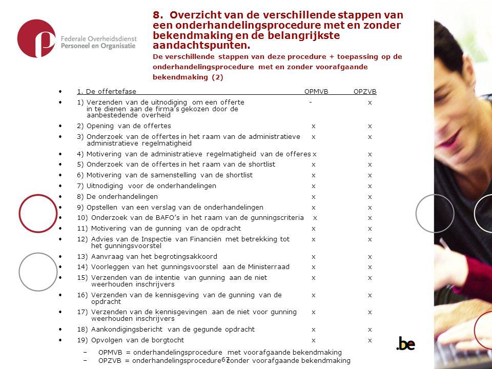 8. Overzicht van de verschillende stappen van een onderhandelingsprocedure met en zonder bekendmaking en de belangrijkste aandachtspunten. De verschillende stappen van deze procedure + toepassing op de onderhandelingsprocedure met en zonder voorafgaande bekendmaking (2)