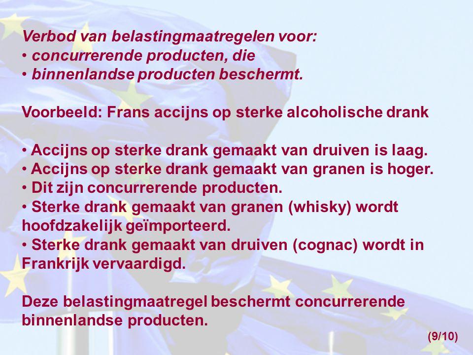 Verbod van belastingmaatregelen voor: concurrerende producten, die