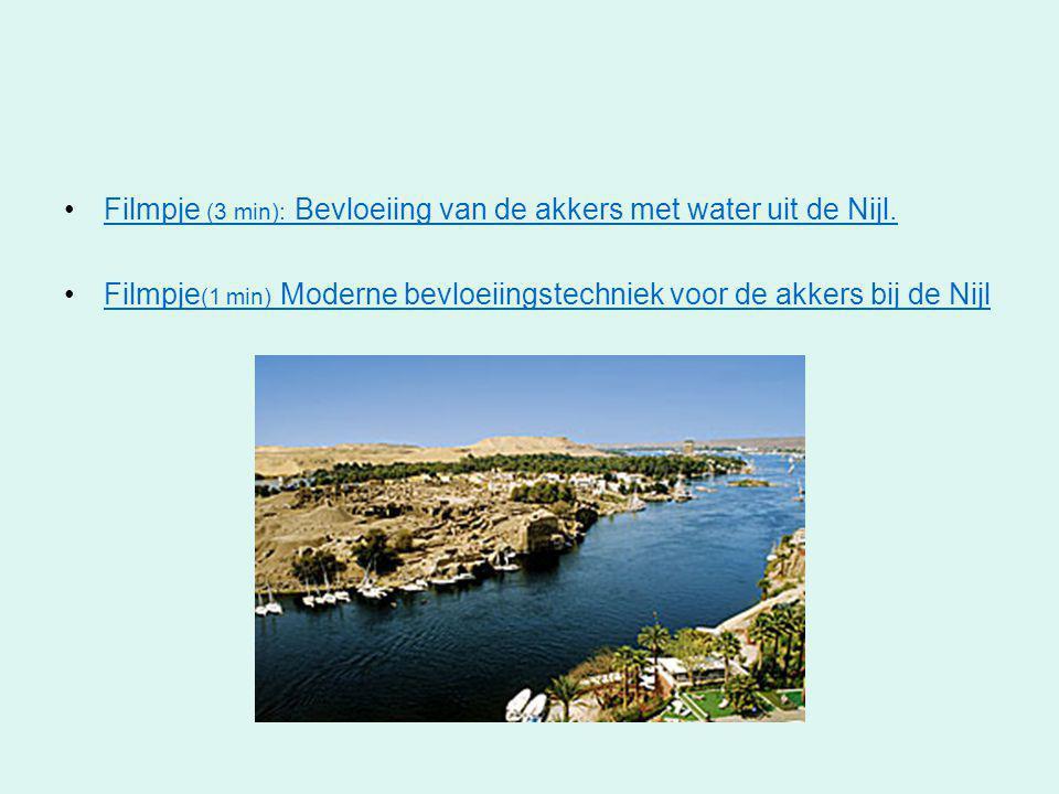 Filmpje (3 min): Bevloeiing van de akkers met water uit de Nijl.