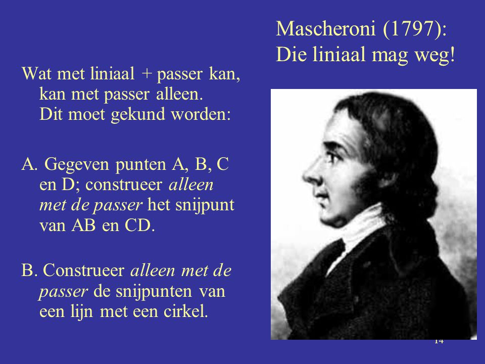 Mascheroni (1797): Die liniaal mag weg!