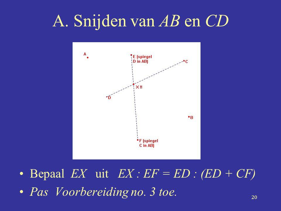 A. Snijden van AB en CD Bepaal EX uit EX : EF = ED : (ED + CF)