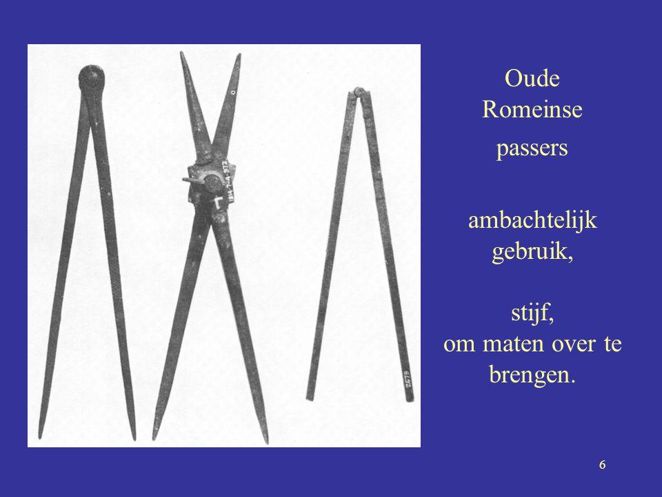 Oude Romeinse passers ambachtelijk gebruik, stijf, om maten over te brengen.