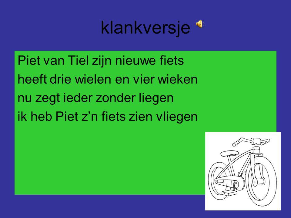 klankversje Piet van Tiel zijn nieuwe fiets