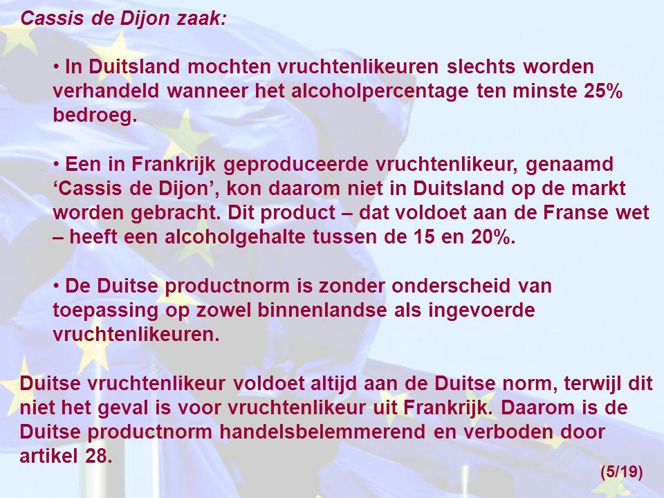 Cassis de Dijon zaak: In Duitsland mochten vruchtenlikeuren slechts worden verhandeld wanneer het alcoholpercentage ten minste 25% bedroeg.