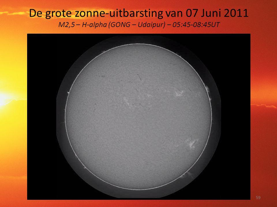 De grote zonne-uitbarsting van 07 Juni 2011 M2,5 – H-alpha (GONG – Udaipur) – 05:45-08:45UT