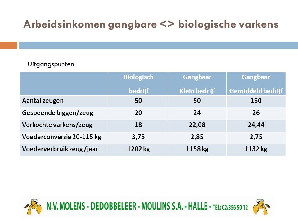 Arbeidsinkomen gangbare <> biologische varkens