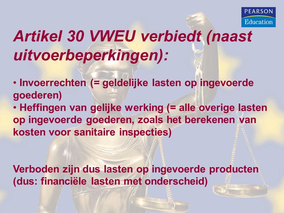 Artikel 30 VWEU verbiedt (naast uitvoerbeperkingen):