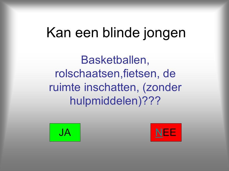 Kan een blinde jongen Basketballen, rolschaatsen,fietsen, de ruimte inschatten, (zonder hulpmiddelen)