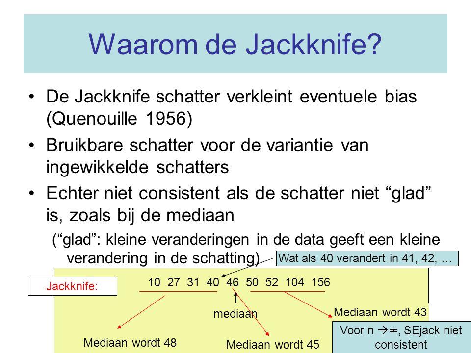 Waarom de Jackknife De Jackknife schatter verkleint eventuele bias (Quenouille 1956)