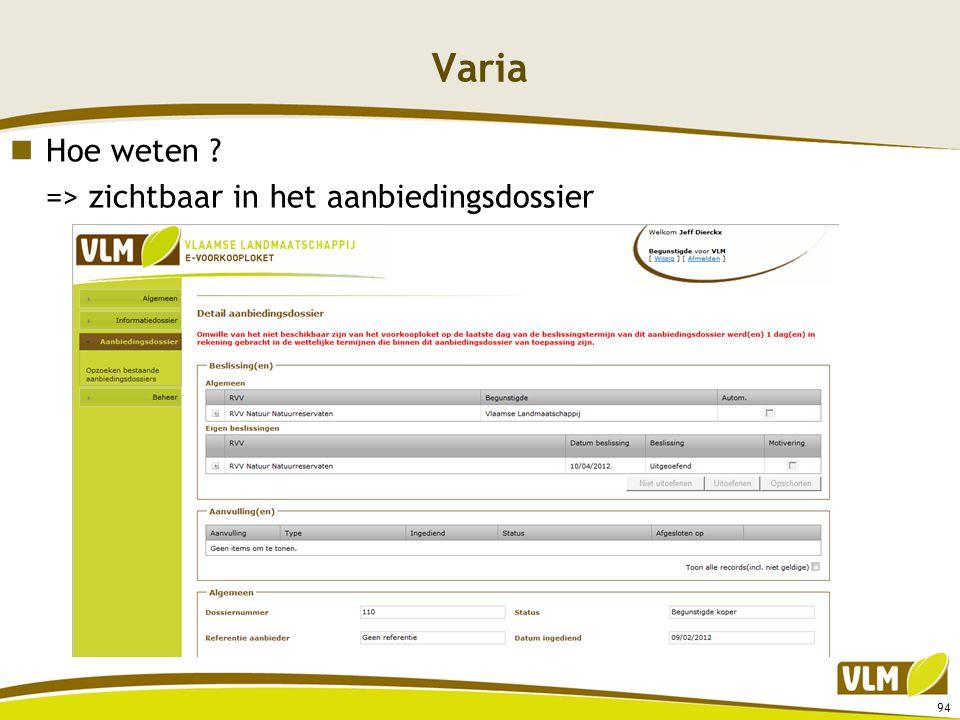Varia Hoe weten => zichtbaar in het aanbiedingsdossier