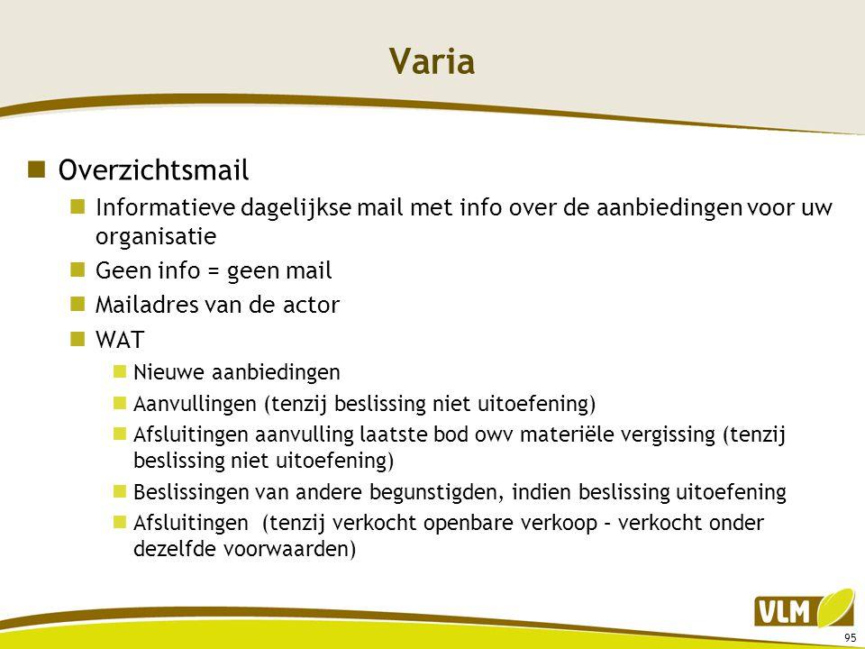 Varia Overzichtsmail. Informatieve dagelijkse mail met info over de aanbiedingen voor uw organisatie.