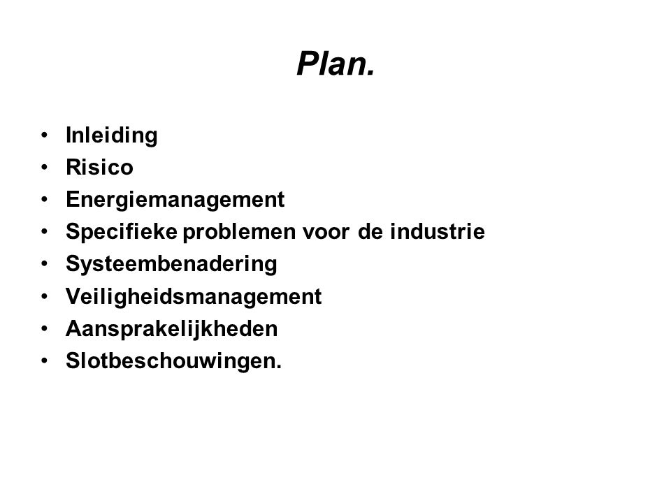 Plan. Inleiding Risico Energiemanagement