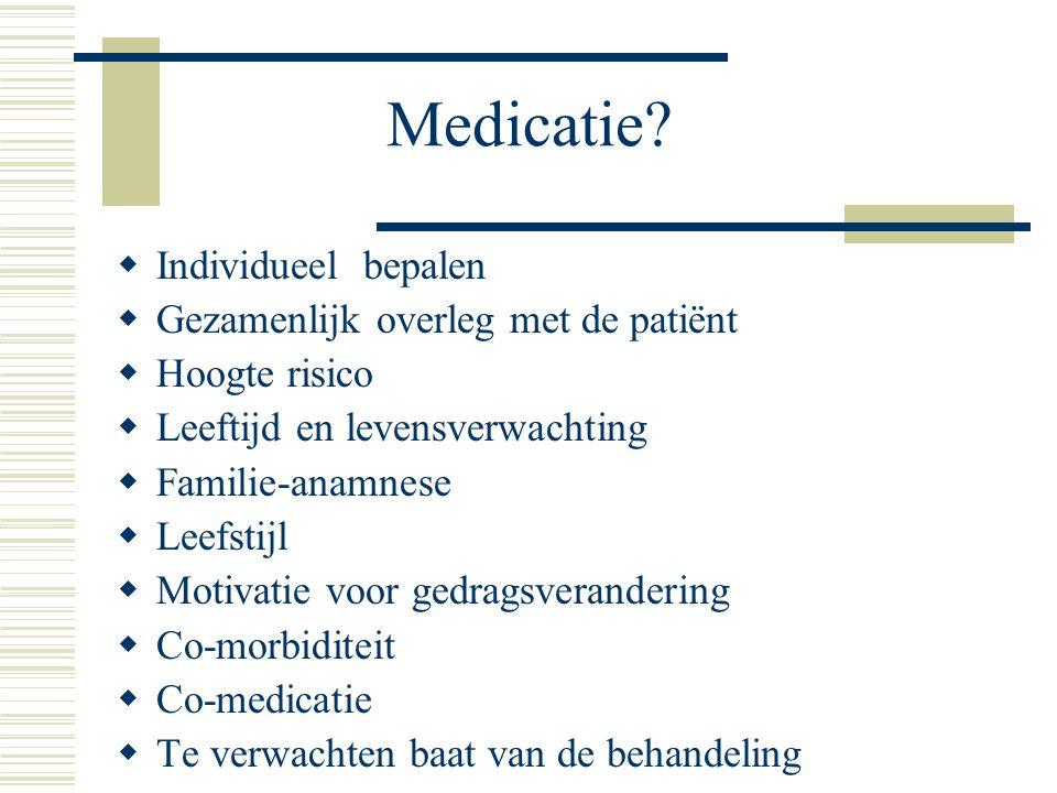 Medicatie Individueel bepalen Gezamenlijk overleg met de patiënt