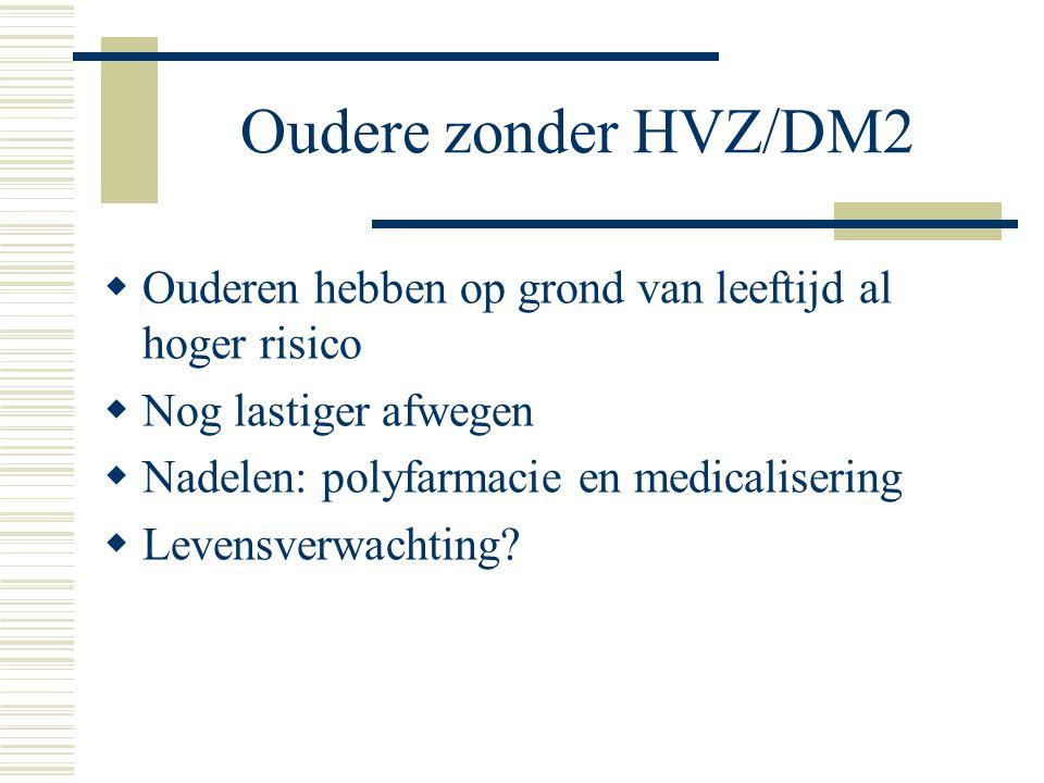 Oudere zonder HVZ/DM2 Ouderen hebben op grond van leeftijd al hoger risico. Nog lastiger afwegen. Nadelen: polyfarmacie en medicalisering.