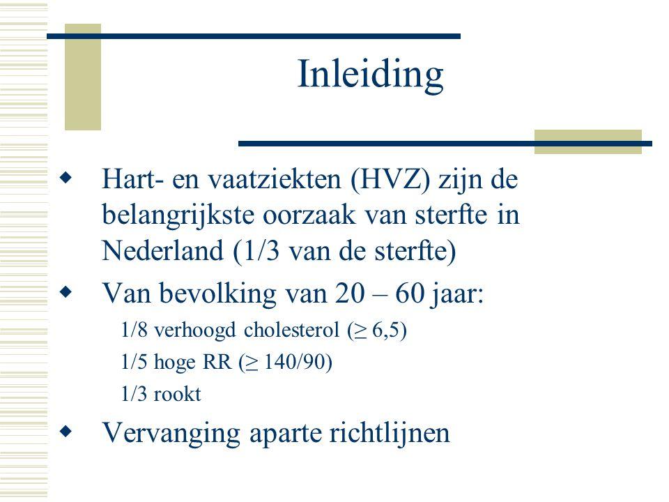 Inleiding Hart- en vaatziekten (HVZ) zijn de belangrijkste oorzaak van sterfte in Nederland (1/3 van de sterfte)