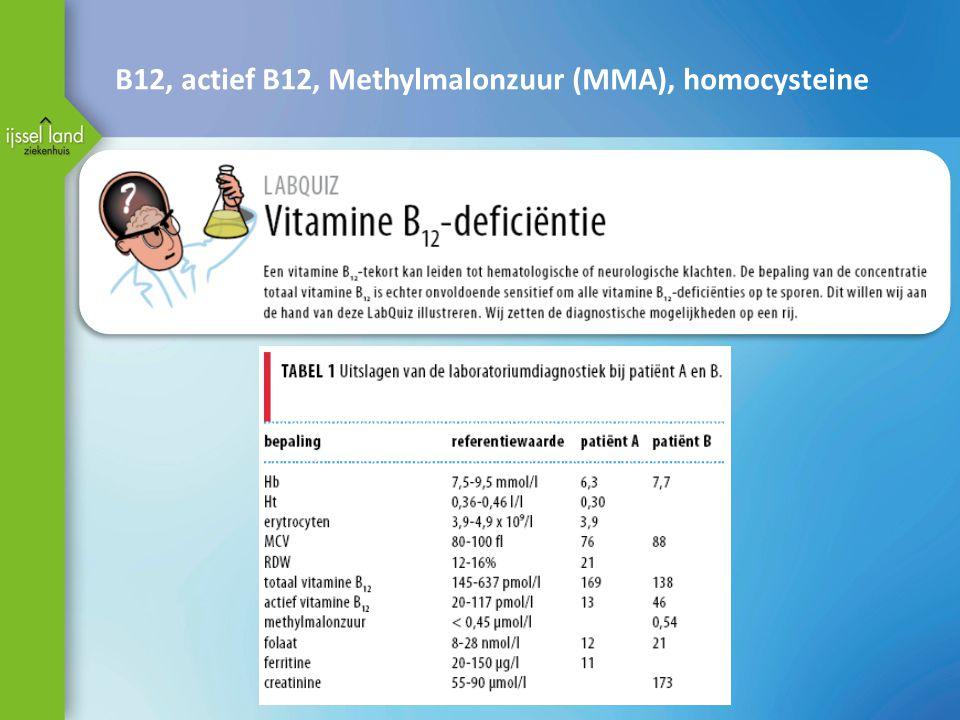 B12, actief B12, Methylmalonzuur (MMA), homocysteine