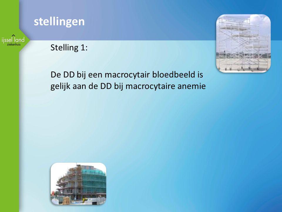 stellingen Stelling 1: De DD bij een macrocytair bloedbeeld is gelijk aan de DD bij macrocytaire anemie.