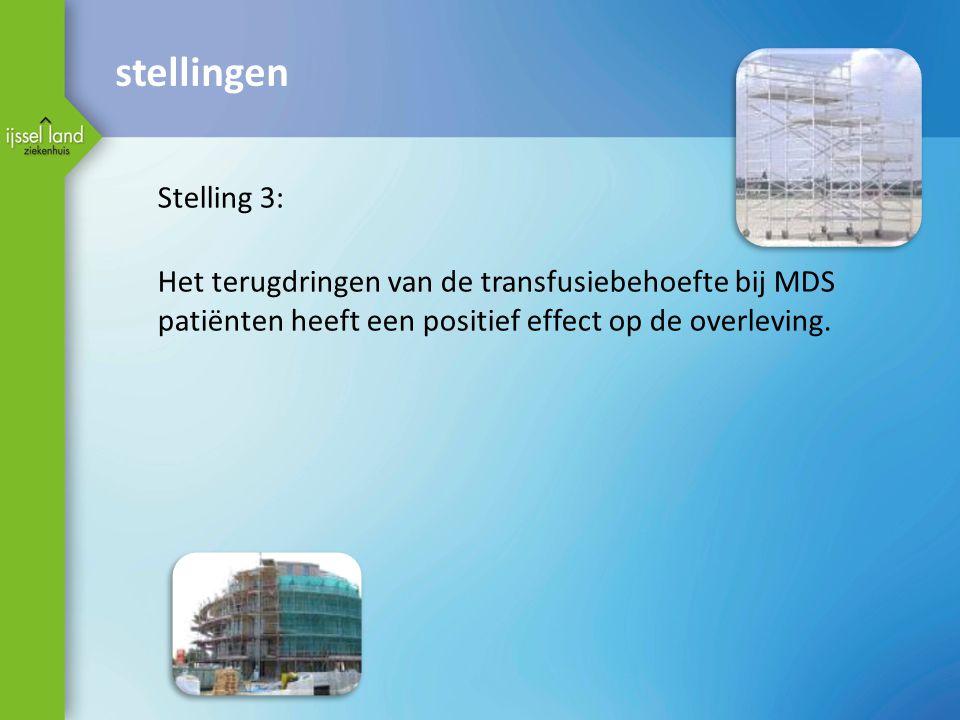 stellingen Stelling 3: Het terugdringen van de transfusiebehoefte bij MDS. patiënten heeft een positief effect op de overleving.