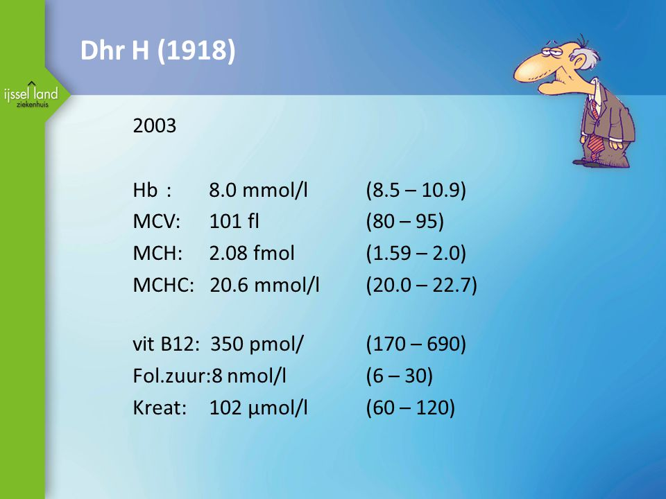 Dhr H (1918) 2003 Hb : 8.0 mmol/l (8.5 – 10.9) MCV: 101 fl (80 – 95)