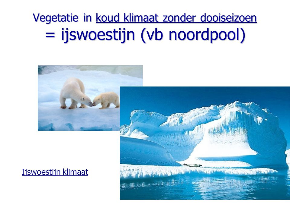 Vegetatie in koud klimaat zonder dooiseizoen = ijswoestijn (vb noordpool)