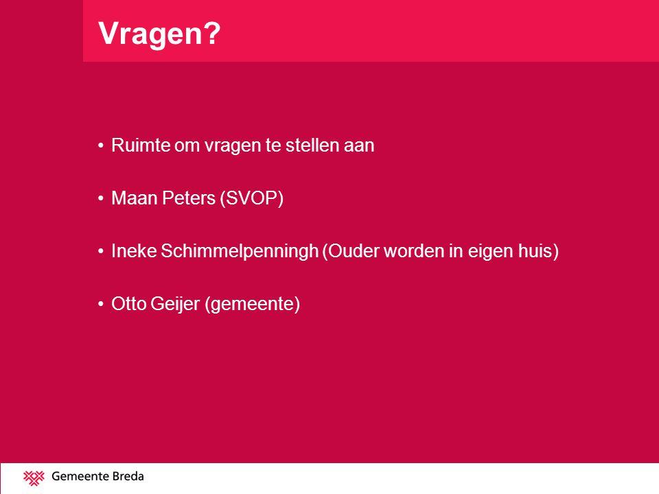 Vragen Ruimte om vragen te stellen aan Maan Peters (SVOP)