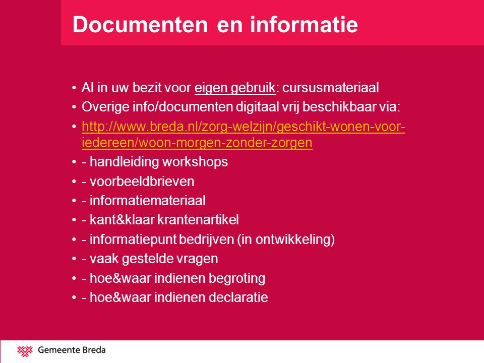 Documenten en informatie