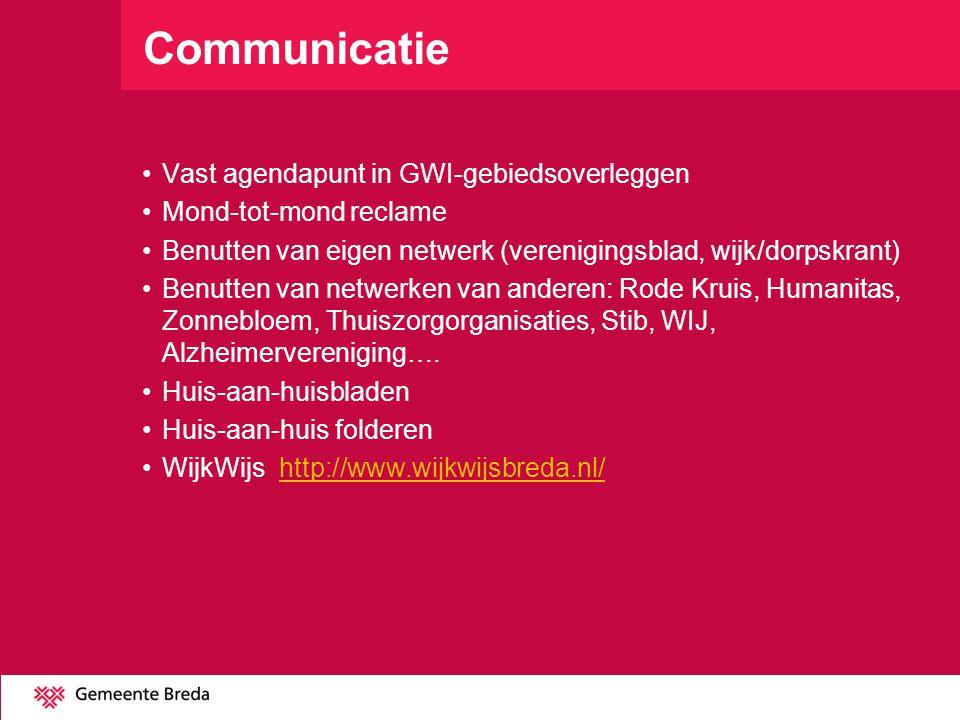 Communicatie Vast agendapunt in GWI-gebiedsoverleggen