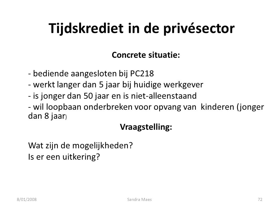 Tijdskrediet in de privésector