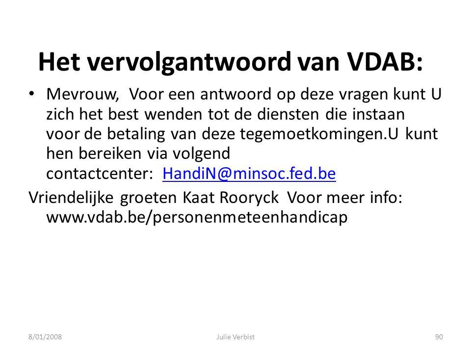 Het vervolgantwoord van VDAB: