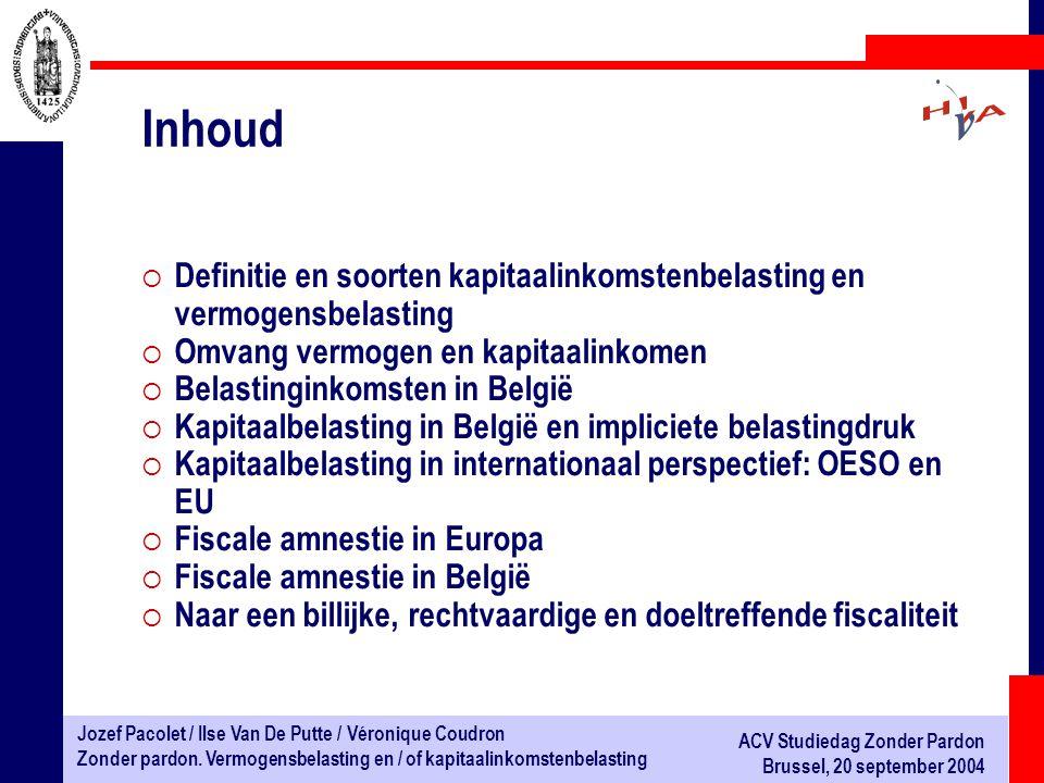 Inhoud Definitie en soorten kapitaalinkomstenbelasting en vermogensbelasting. Omvang vermogen en kapitaalinkomen.