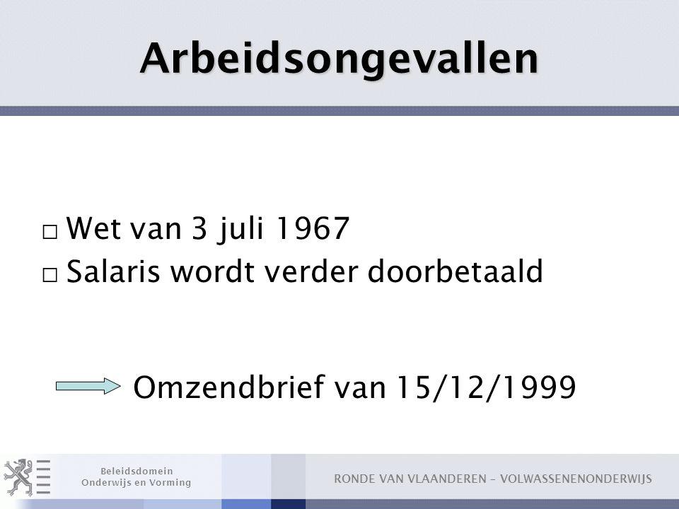 Arbeidsongevallen Wet van 3 juli 1967 Salaris wordt verder doorbetaald