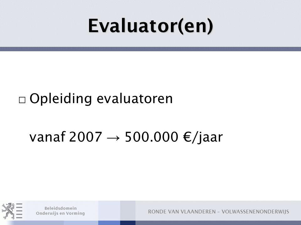 Evaluator(en) Opleiding evaluatoren vanaf 2007 → 500.000 €/jaar