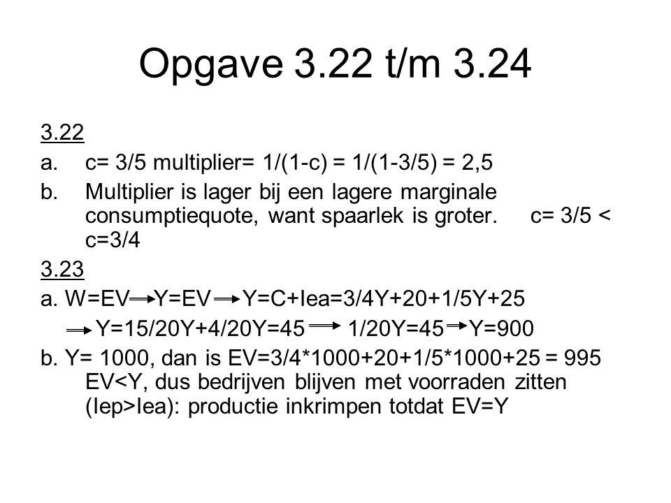 Opgave 3.22 t/m 3.24 3.22 c= 3/5 multiplier= 1/(1-c) = 1/(1-3/5) = 2,5