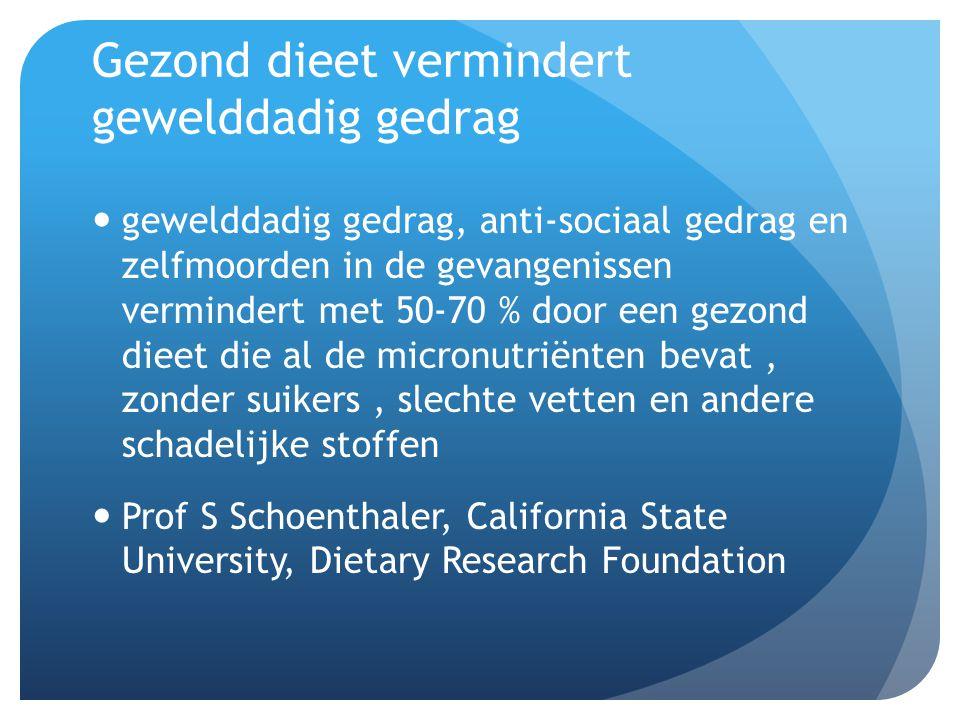 Gezond dieet vermindert gewelddadig gedrag