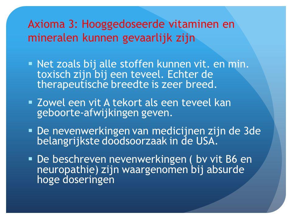Axioma 3: Hooggedoseerde vitaminen en mineralen kunnen gevaarlijk zijn