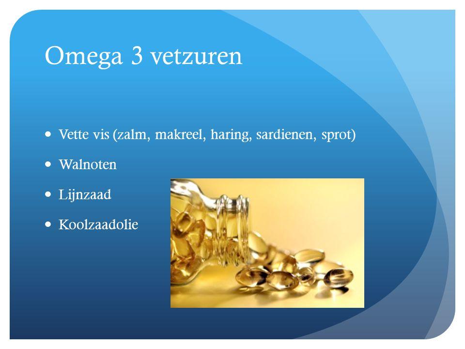 Omega 3 vetzuren Vette vis (zalm, makreel, haring, sardienen, sprot)