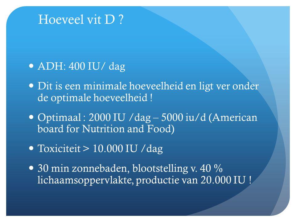 Hoeveel vit D ADH: 400 IU/ dag