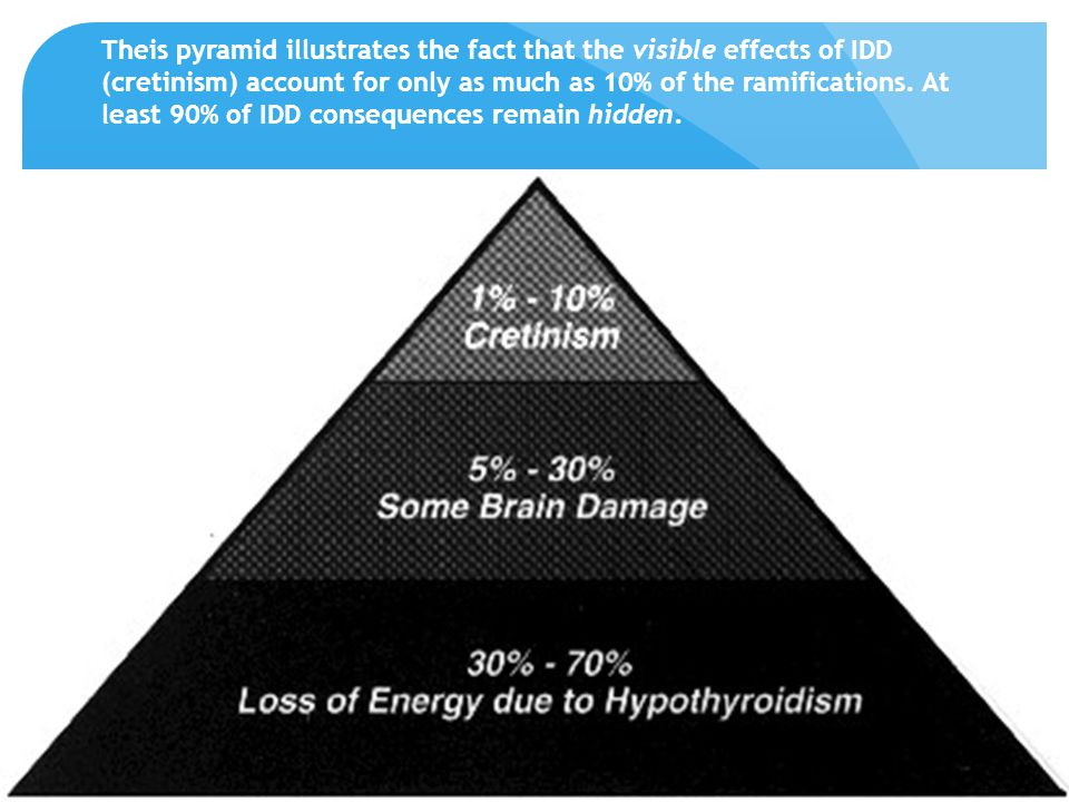 Theis pyramid illustrates the fact that the visible effects of IDD (cretinism) account for only as much as 10% of the ramifications.