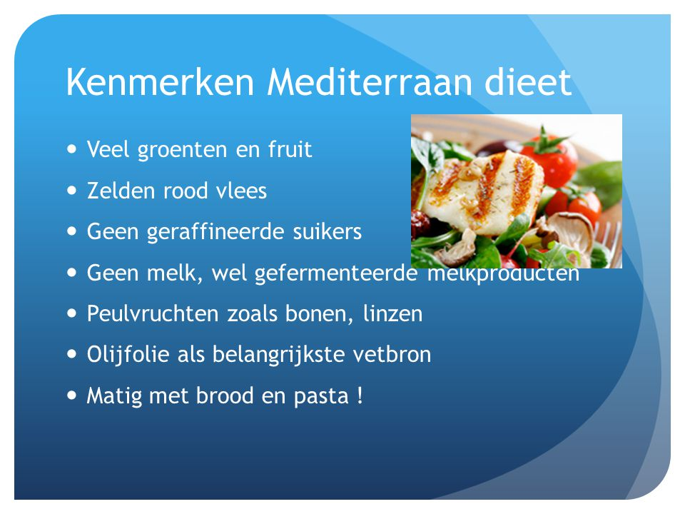 Kenmerken Mediterraan dieet